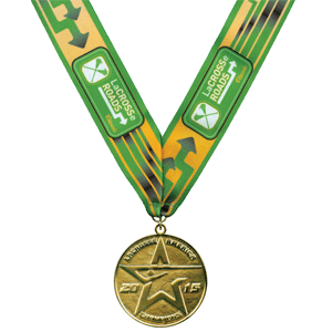 Catania Medallic Specialty, Inc. specializes in custom medallic items. Shown here is a die cast lacrosse medal with a custom full-color ribbon.