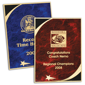 Pre-cut brass plaque plates are available with many interesting patterns. Photo provided by LaserBits, Inc.