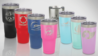 JDS Industries, Inc. offers a line of powder coated travel mugs for engraving.