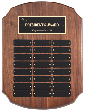 The beauty of perpetual awards is that they bring continuous business. This perpetual plaque is from Marco Awards Group.