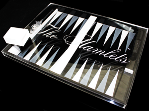 This personalized backgammon set makes a great gift. Photo courtesy of Hamlet Products, Inc.