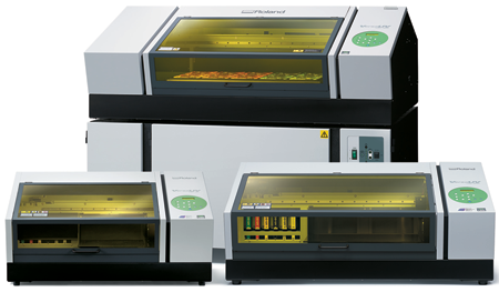 The VersaUV LEF 12i, 200 and 300 flatbed printers from Roland DGA Corp.