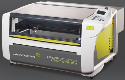 "The LS100 Energy from Gravograph is a CO2 laser with a 12"" x 18"" table."