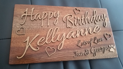 A laser opens up many creative opportunities. This birthday sign was created by Ian Hall of County Durham Signs.