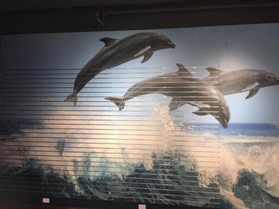 This beautiful slat board wall was printed with a full-color image to create a backdrop for displaying products available at a gift store. Photo courtesy of Spacewall International.