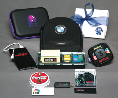 A sampling of the types of products that can be UV printed. Photo courtesy of Finer Line, Inc.