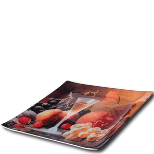 Tempered glass plates from Laser Reproductions, Inc. are coated on the bottom for printing, allowing them to be safely used to serve food.