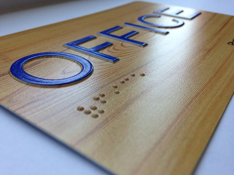 You can control the height of raised lettering and Braille by specifying the amount of ink to be printed. Photo courtesy of Direct Color Systems.