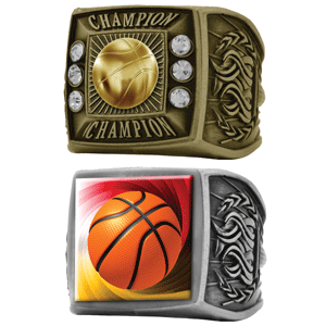 Simba Cal, Inc. offers heavy weight metal champion rings with rich antique gold or silver plating in 15 different stock events.