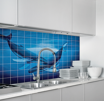 Sublimated tiles make a beautiful backsplash in a kitchen. Photo courtesy of Images in Tile.