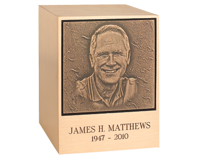 Today, many people prefer to have urns personalized with photos of their deceased loved ones. Photo courtesy of Matthews International.