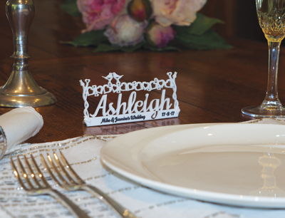 Reader Stuart Kirkwood made personalized place cards for a wedding using his laser.