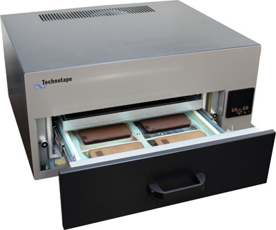 The Technotape 3D Vacuum Oven from Condé Systems, Inc. allows digital decorators to sublimate items that are not flat, such as dinner plates and one-piece phone covers.