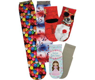 Socks can be sublimated with full-color photos, text or logos to appeal to a variety of niche markets. Photo courtesy of Condé Systems, Inc.
