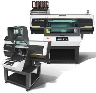 The Mimaki USA, Inc. MkII Series UV-LED printers are available in two sizes with a variety of ink options, including clear and white..