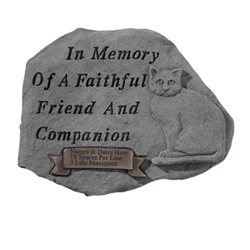 Garden stones are a popular way to memorialize a beloved pet. Photo courtesy of Matthews International.