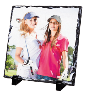 Partnering with professional photographers is a great way to sell photo merchandise such as this sublimated tile. Photo courtesy of Marco Awards Group.