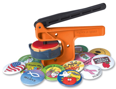 "The 21/4"" hand press button badge maker from Badge-A-Minit is an inexpensive starter unit."