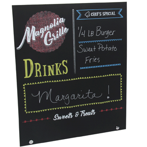 Here is a finished sample of the Rowmark LLC plastic chalkboard called Message Board.