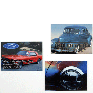 Metal is a common substrate for sublimation. These sublimated metal pieces are dash plates for a car show. Photo courtesy of Unisub.