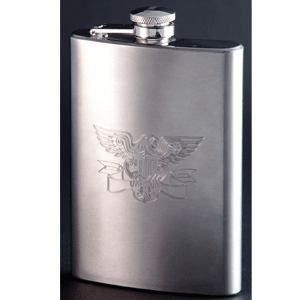 The beauty of diamond engraving is that it can be used to engrave directly on metal, such as this stainless steel flask. Photo courtesy of Gravograph.