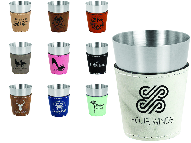 Laserable leatherette and stainless steel shot glasses are available from JDS Industries.