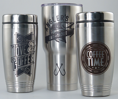 These mugs were engraved using an Epilog Laser and CerMark.