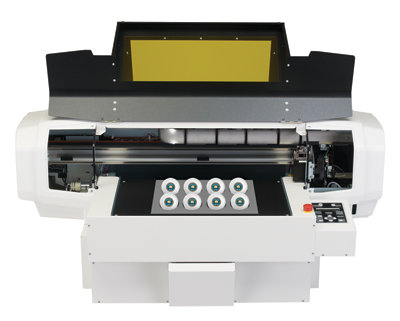 The ValueJet 426UF UV-LED printer from Mutoh America, Inc. shown here with a golf ball jig.