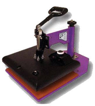 A small heat press, such as this one from Geo Knight & Co., Inc., takes up little space and can be used for sublimation and heat transfer applications.