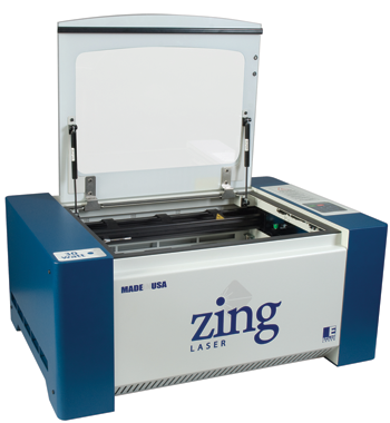 "The Zing 16 from Epilog Laser is available with a 30 watt CO2 laser and a 12"" x 16"" working range."