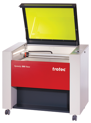 "The Speedy 360 laser from Trotec Laser, Inc. features a large 32"" x 20"" table and the option of a CO2 laser, a fiber laser or both."