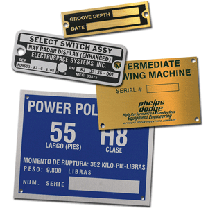 A variety of metals including stainless steel, aluminum, brass, copper and nickel silver can be used to create industrial products such as tags and nameplates. Photo courtesy of Identification Plates, Inc.