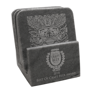 N & R International Inc. recently introduced several new products in gray marble, including this square coaster holder with four coasters.