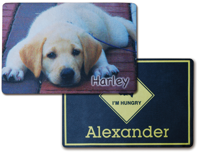 There are a wide variety of pet products that can be personalized for the pet market. These sublimatable mats are available from Johnson Plastics.
