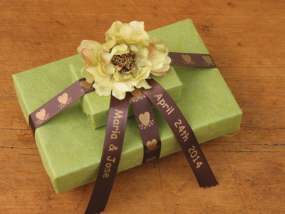 Custom ribbons can be used for many applications, such as wedding gift wrap. Photo courtesy of Jackson Marking Products Co., Inc.