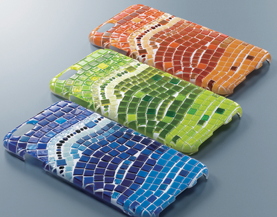 The raised textured mosaic design on these phone covers was created with the VersaUV LEF-200 flatbed printer from Roland DGA Corp.