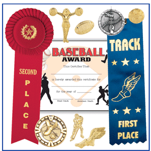 Ribbons, certificates and pins are all good award choices for sports events. Photo courtesy of F&H Ribbon Company, Inc.