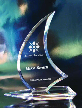 Yacht clubs are a good niche market for awards. This crystal sailboat award is available from SCT Crystal.