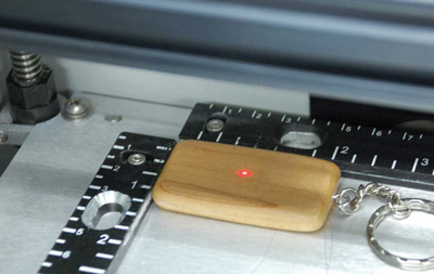 A red dot pointer is very useful for checking the positioning of the engraving. Image courtesy of Epilog Laser.
