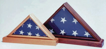 Flag cases, like this one from Big Sky Woodcrafters, make beautiful memorial products.