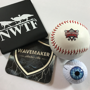 Both flat items and 3D items like baseballs and golf balls can be UV printed. Photo courtesy of ColDesi, Inc.